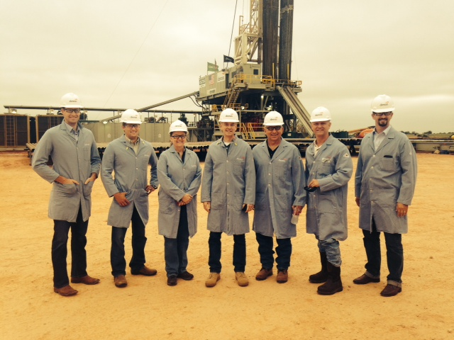 Secretary Benge with Congressman Steve Russell and others on a drilling rig site north of Guthrie.
