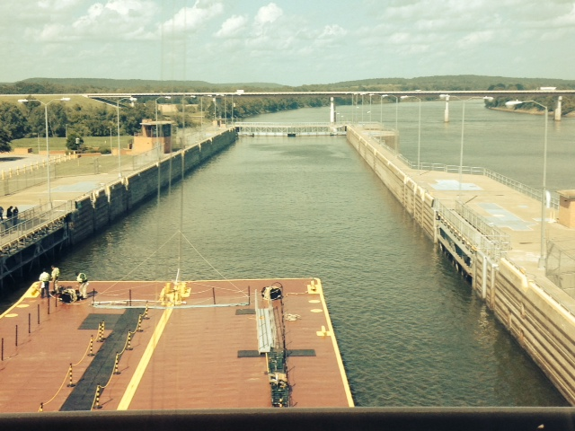 Picture from inside a Lock on the McClelland/Kerr Arkansas River Navigation System. At 445 miles long, the channel opens up commerce to the rest of the world. This asset brings thousands of jobs to the state and billions of dollars worth of commerce.
